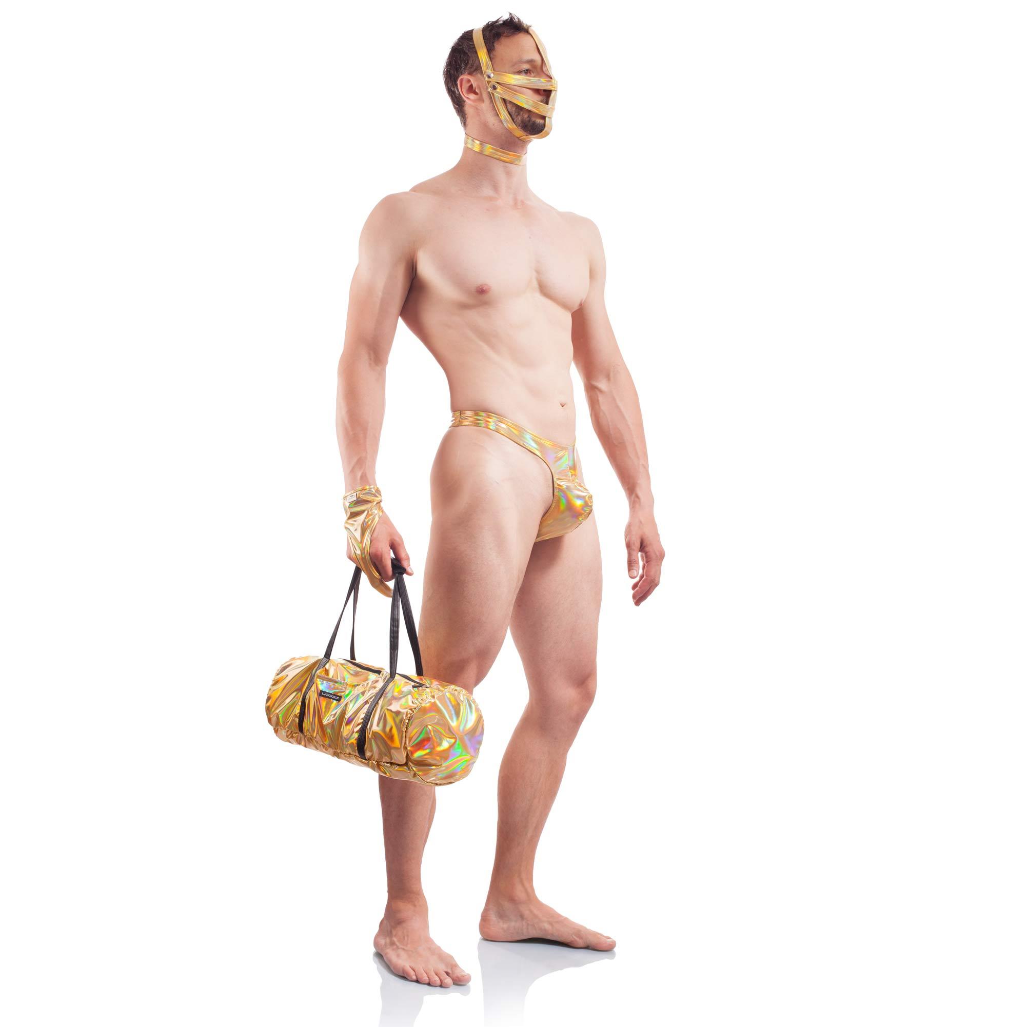 Golden Line, Tasche, gold glänzendes Lederimitat, Lack, dehnbar, stauraum