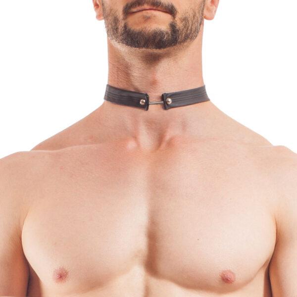 Synlex mattes Leather like, Lederimmitat Halsband, Kunstleder Kette für den Mann, Piercing Halsband, Piercing Kette Mann, Lederimitat Band mit Piercing