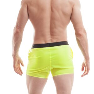 Wojoer, beach, shorts, badehosen, neongelb, schwarzer bund, mit taschen