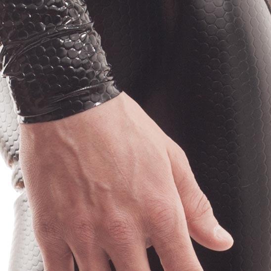Cyberskin, bodysuit, netzstoff, reißverschluss, lack, wabeneffekt, herren, schwarz, glänzend