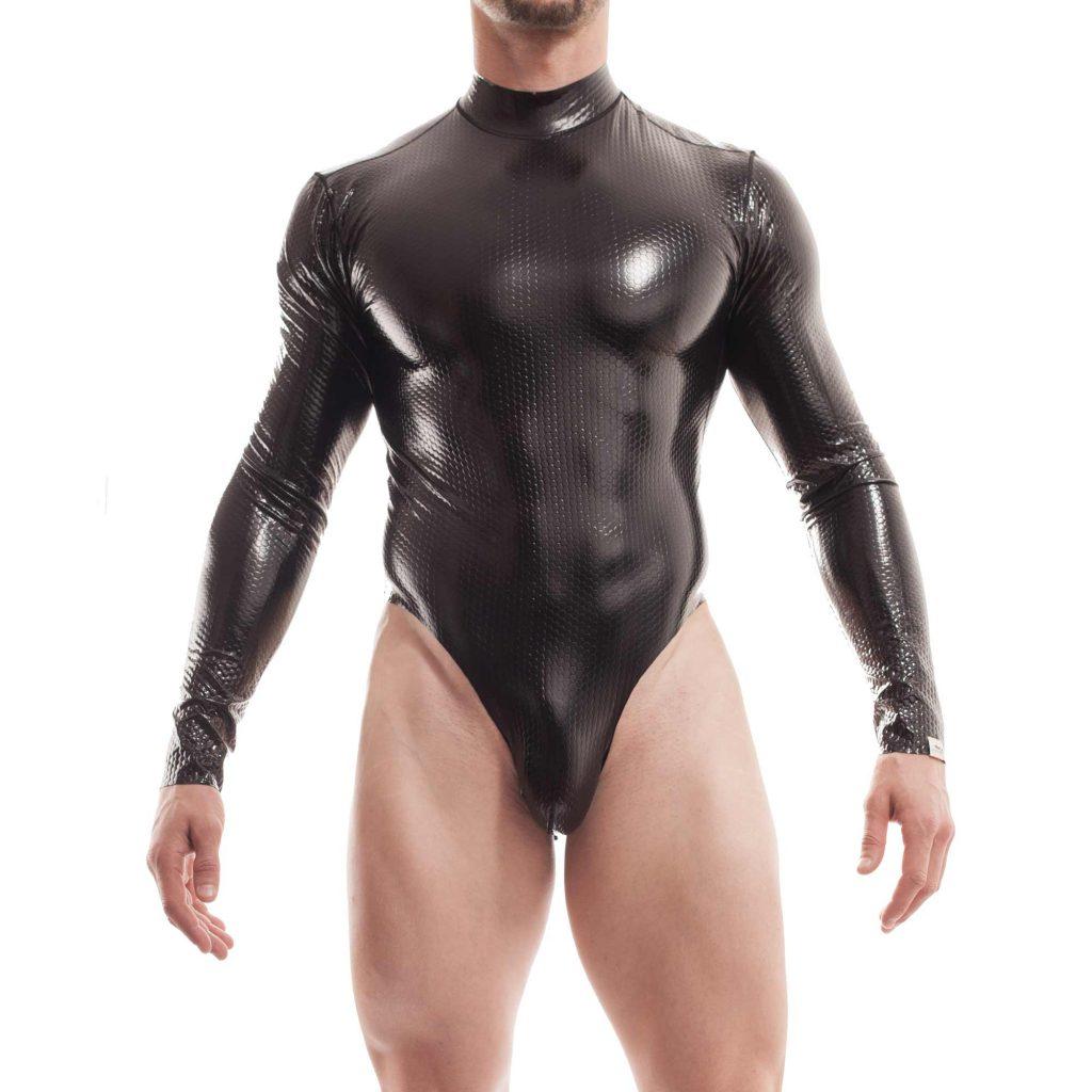 Cyberskin, tangabody, reißverschluss, lack, wabeneffekt, herren, schwarz, glänzend