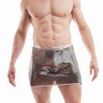 Micheal Jey silver skirt men, glamouröser Rock für Herren, Silbe Schuppen, Kettenhemd Rock