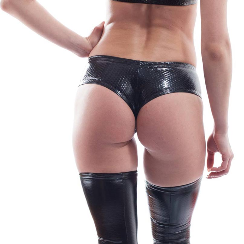 cyberskin wojoer, black varnish panty, lack hot pant women, spacy panty