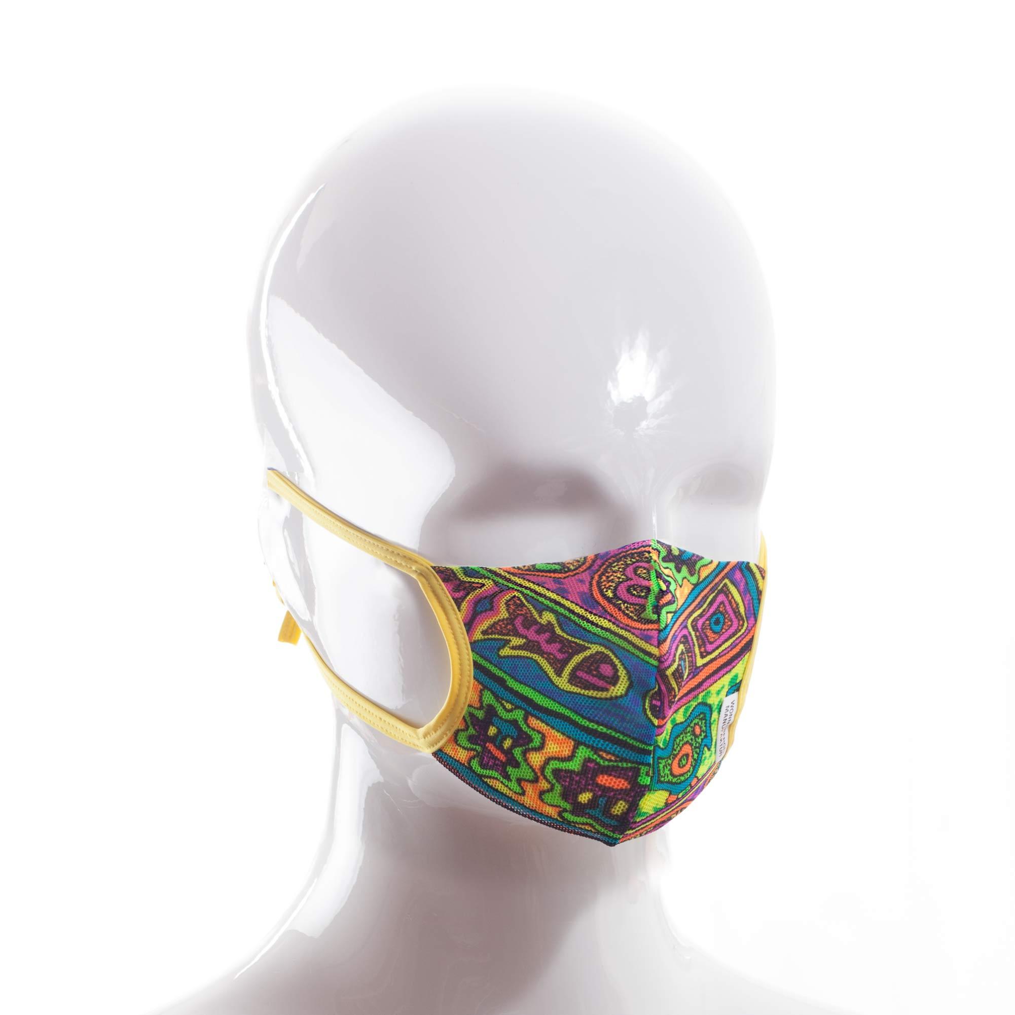 Die Baumwoll-Polyester Mund-Nasen Maske BWPM4.1KidsSommergelb von der Wonneberger Manufaktur ist eine textile Behelfsmaske, kein zertifizierter Mundschutz.  Sie schützt nur bedingt vor Ansteckung. Ihr eigentlicher Zweck ist es, den Atem des Trägers zu filtern und dadurch seine Umgebung zu schützen. Daher muss die…